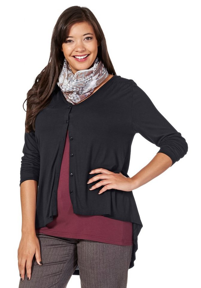 sheego Style Leicht transparente Jerseyjacke in schwarz