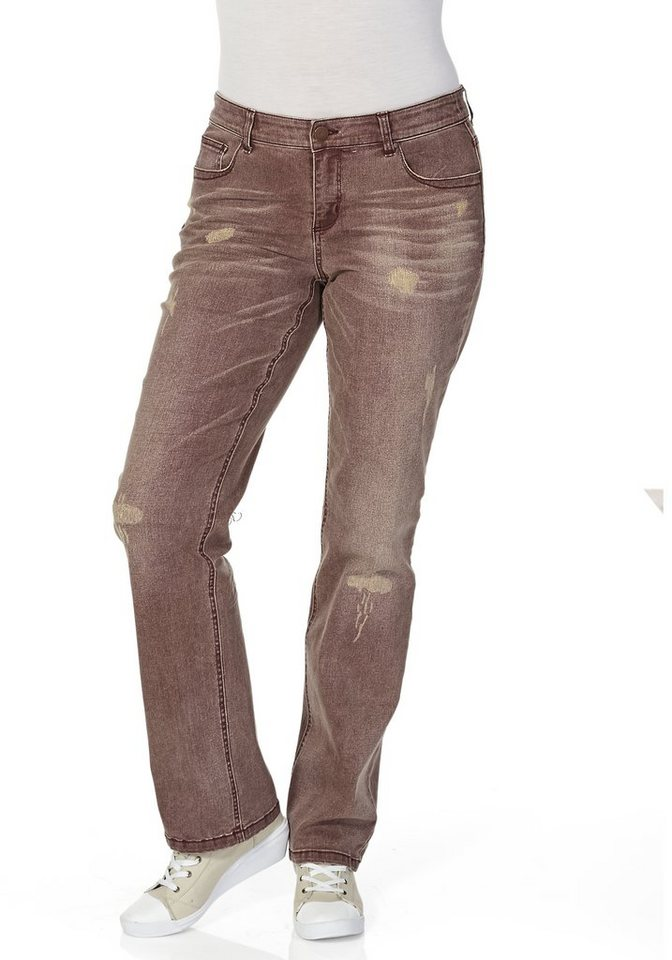 sheego Denim Jeans mit geradem Bein in red used