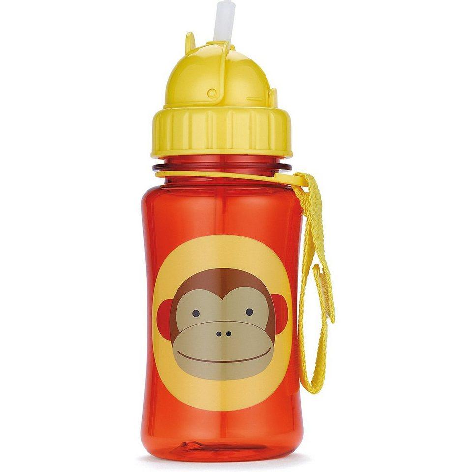 Skip Hop Trinkflasche mit Strohhalm, Affe in orange