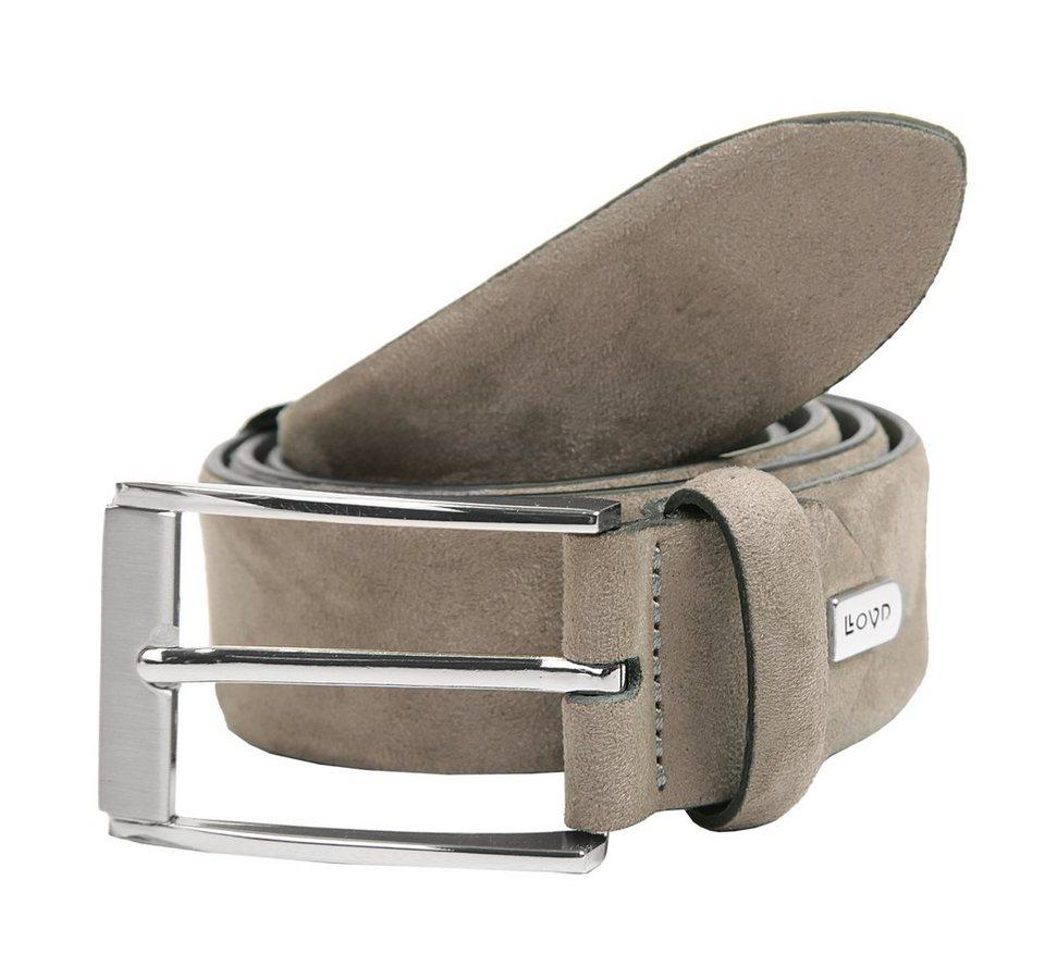 LLOYD Men's Belts Herren Velours-Leder Gürtel in grau