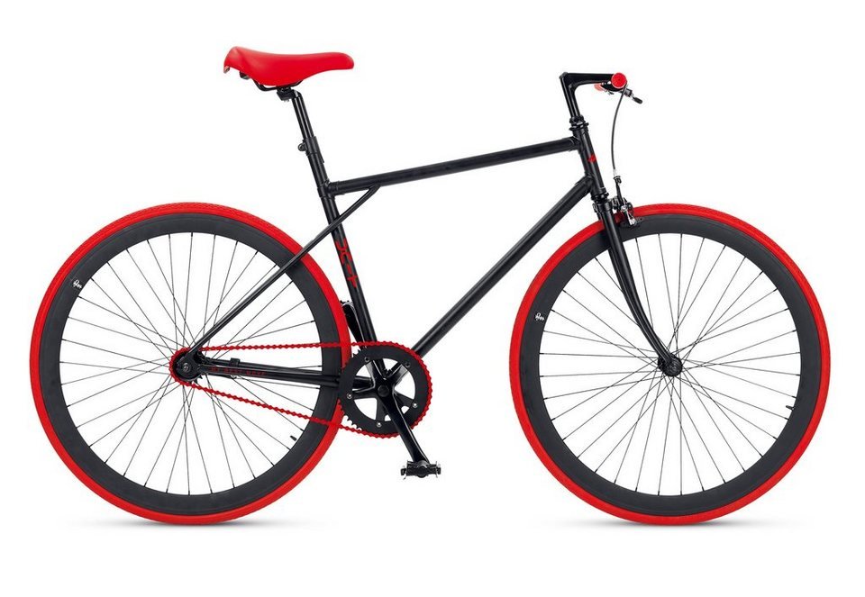 Fitnessbike, 28 Zoll, 1 Gang, Freilauf oder Fixed Gear, »Unit 581 Coaster Brake 1 S«, MBM in rot-schwarz