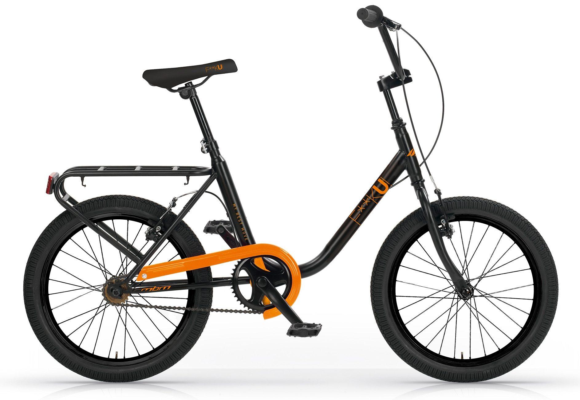 City Cruiser, 20 Zoll, ohne Schaltung, schwarz-orange, »F**K-U! Mod. 565«, MBM