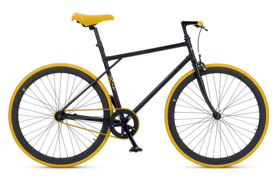 Fitnessbike, 28 Zoll, 1 Gang, Freilauf oder Fixed Gear, »Unit 581 Coaster Brake 1 S«, MBM in gelb-schwarz