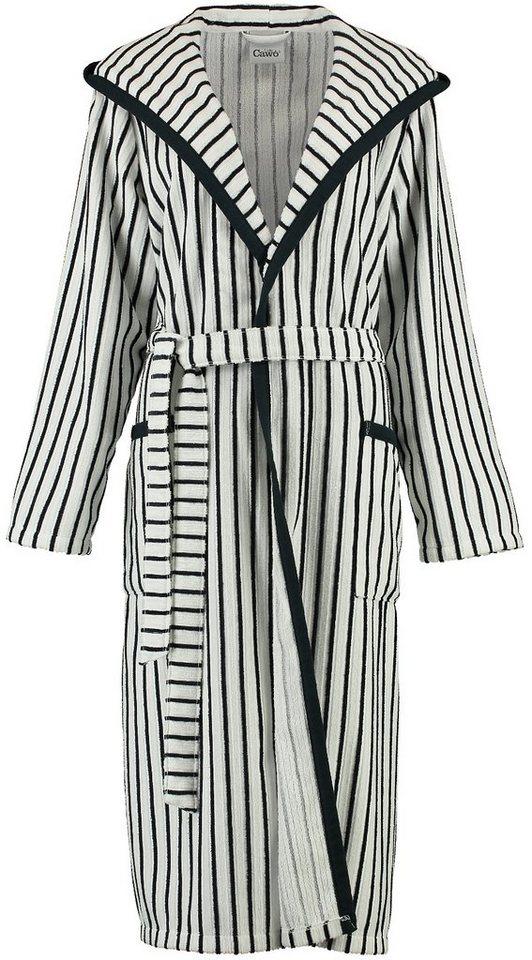 Damenbademantel, Cawö, »Norderney«, mit Streifen in schwarz-weiß