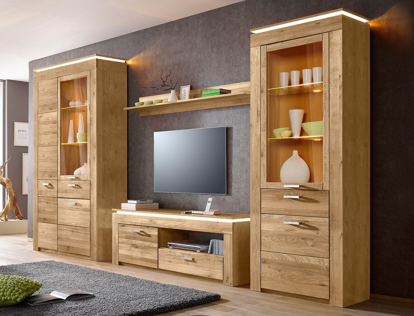 lowboard wildeiche massiv preisvergleiche. Black Bedroom Furniture Sets. Home Design Ideas