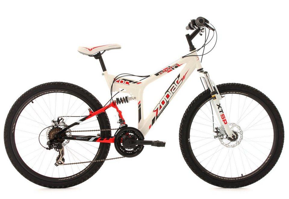 Fully-Mountainbike, 26 Zoll, weiß, 21 Gang Kettenschaltung, »Zodiac«, KS Cycling in weiß