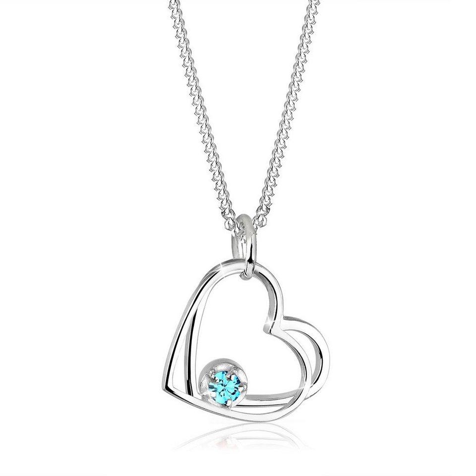 Elli Halskette »Herzen Solitär Swarovski® Kristalle 925 Silber« in Hellblau