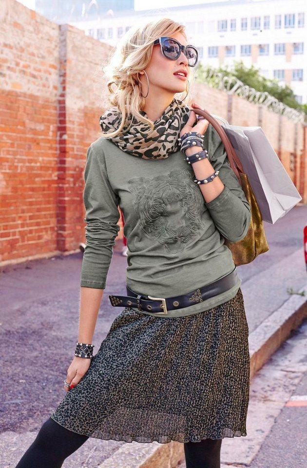 Aniston Langarmshirt mit gesticktem Tigerkopf in khaki