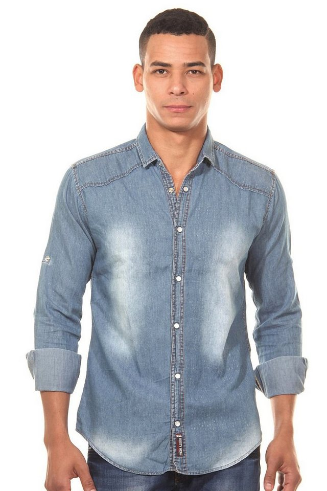 R-NEAL Jeanshemd regular fit in denim blau