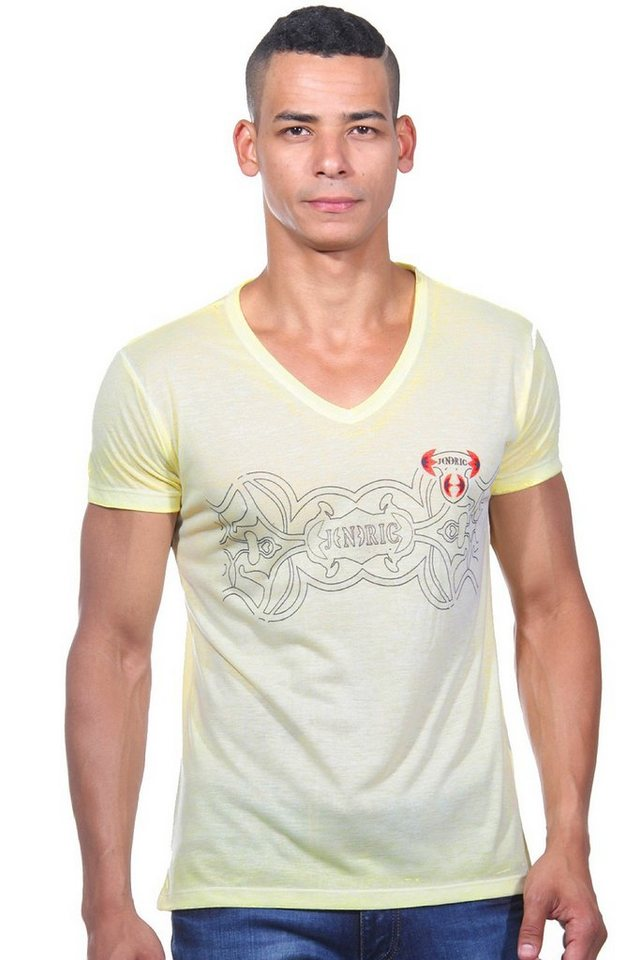 JENERIC T-Shirt V-Ausschnitt regular fit in lemon