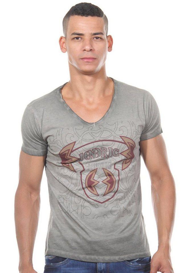 JENERIC T-Shirt V-Ausschnitt regular fit in khaki