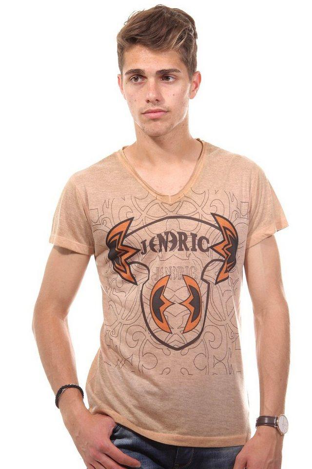 JENERIC T-Shirt V-Ausschnitt regular fit in camel