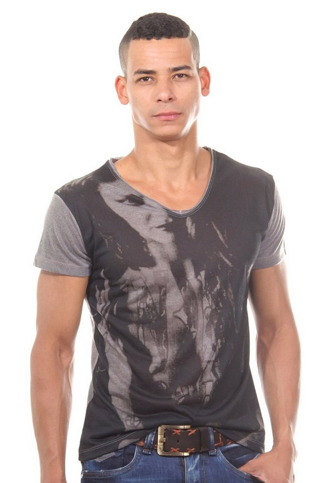 JENERIC T-Shirt Rundhals regular fit in grau/schwarz