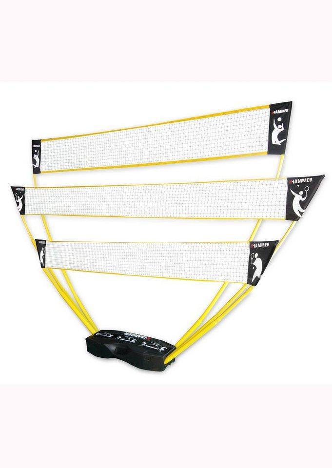 3in1 Netz-Set, für Volleyball, Badminton & Tennis, Hammer in gelb-schwarz