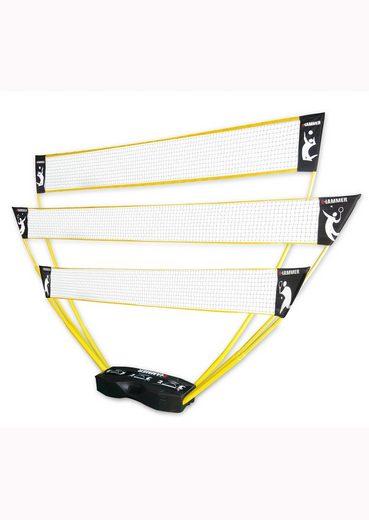 Hammer Tennisnetz (Tragekoffer, Netze, Teleskop Netzpfosten, Bodenanker), 3in1 Netz-Set für Badminton, Tennis und Volleyball
