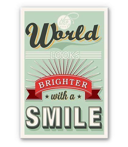 Hartschaum-Wandbild, Home affaire, »The world looks brighter with a smile«, 20/30 cm