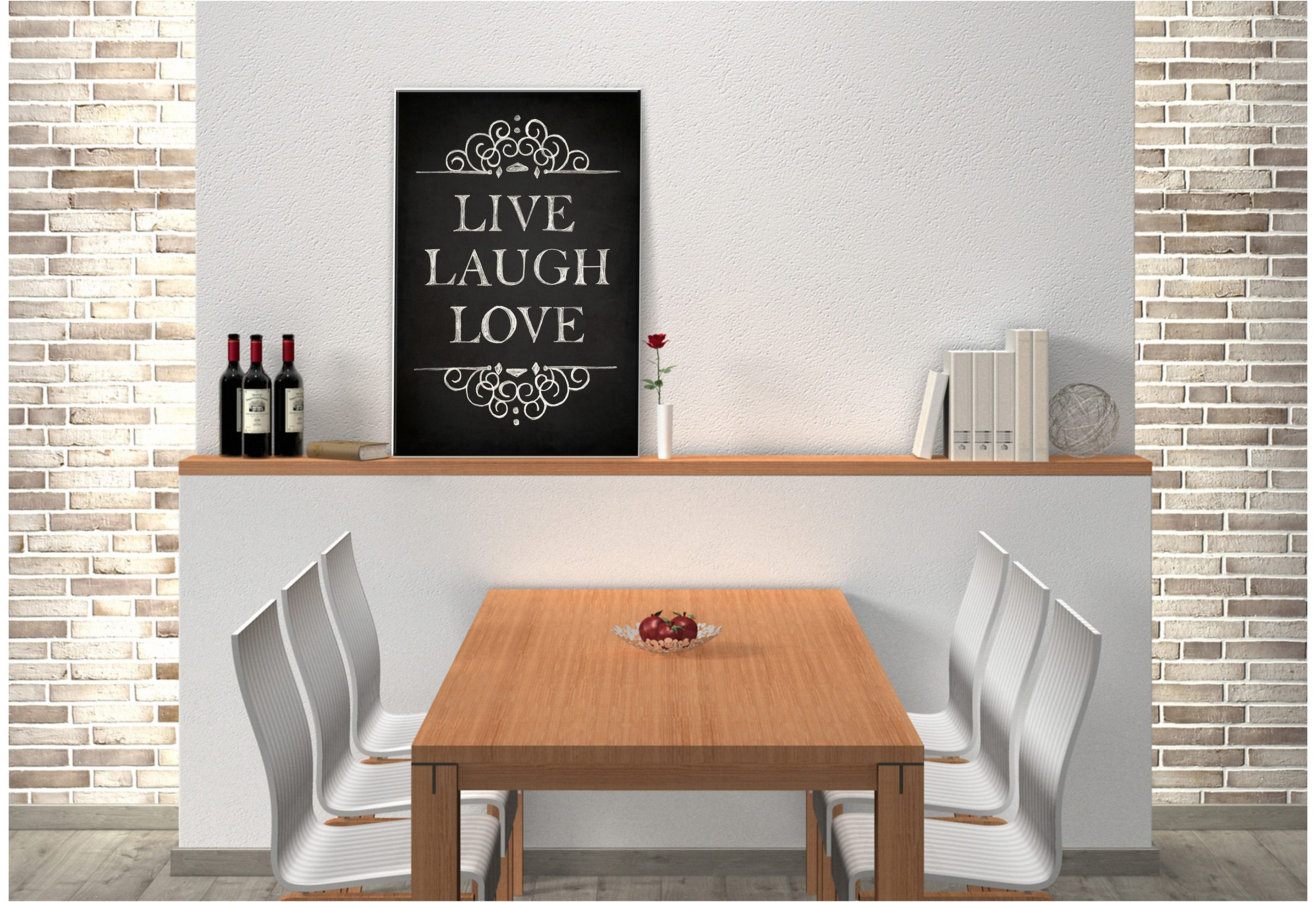 Hartschaum-Wandbild, Home affaire, »Live Laugh Love«, 20/30 cm