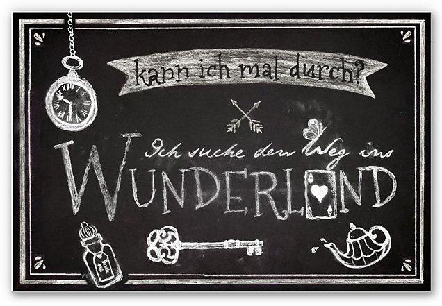 Hartschaum-Wandbild, Home affaire, »Ich suche den Weg ins Wunderland«, 45/30 cm in schwarz/weiß