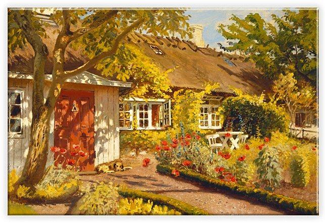Leinwandbild, Home affaire, »Olaf Viggo Peter Langer - Das Gartenhaus«, 60/40 cm in bunt