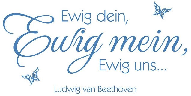 Wandtattoo, Home affaire, »Ewig dein, Ewig mein … + 3D Deko Schmetterlinge«, 100/49 cm in azurblau/limettengrün