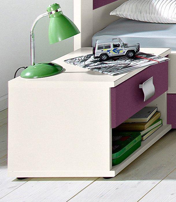 Wimex Nachttisch in weiß/brombeer