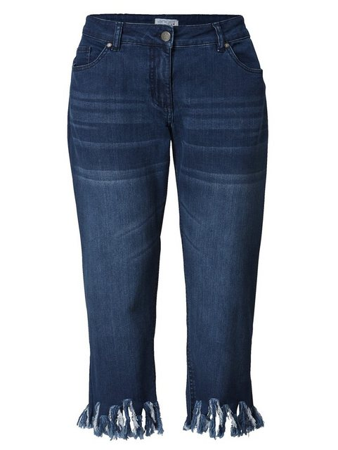 Hosen - Angel of Style by HAPPYsize 7 8 Jeans mit offenen Kanten › blau  - Onlineshop OTTO