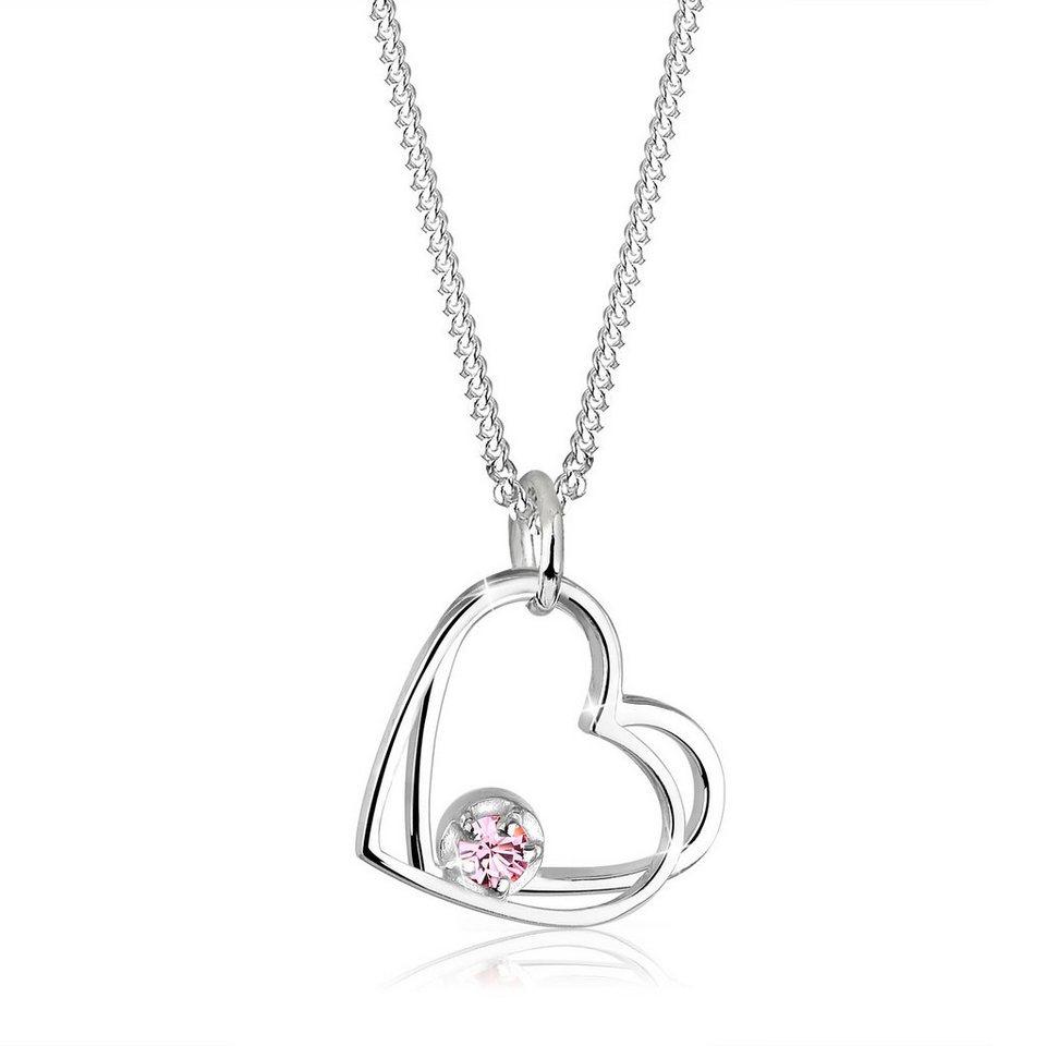 Elli Halskette »Herzen Solitär Swarovski® Kristalle 925 Silber« in Rosa