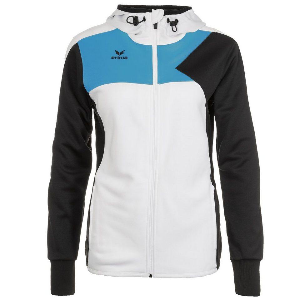 ERIMA Premium One Trainingsjacke mit Kapuze Damen in weiß/schwarz/curacao