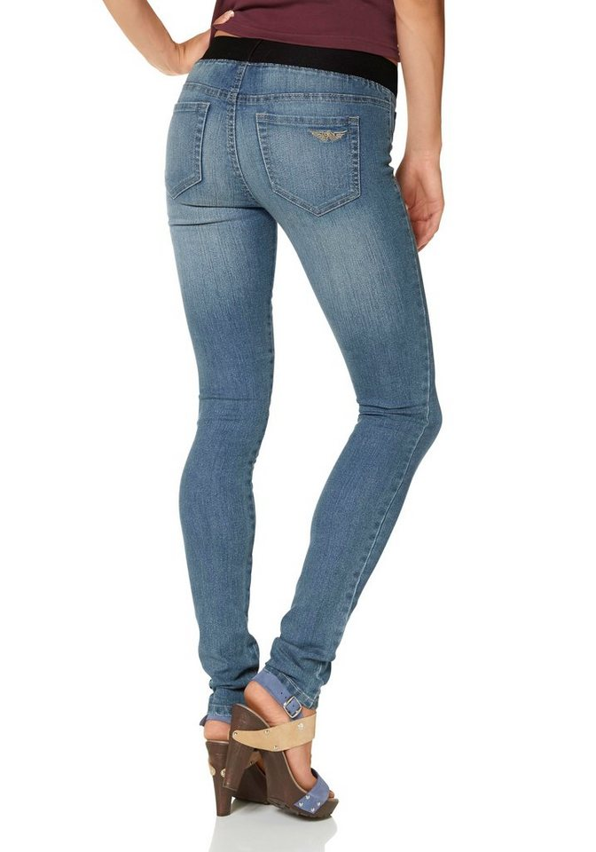 Arizona Jeansjeggings »Gummizug-Bund« in blue-used
