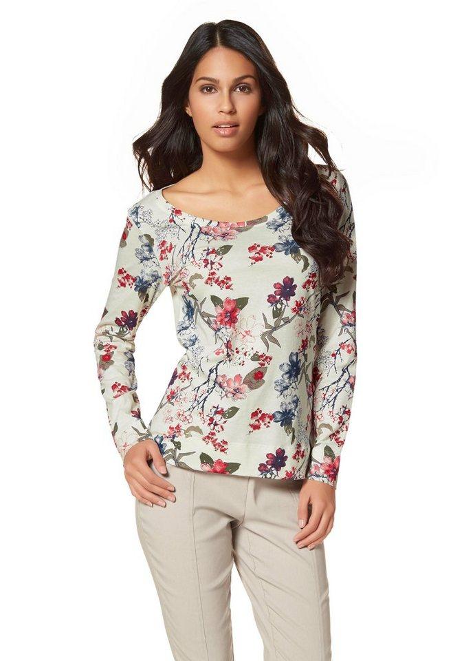 Boysen's Langarmshirt mit floralem Druck in wollweiß-bedruckt