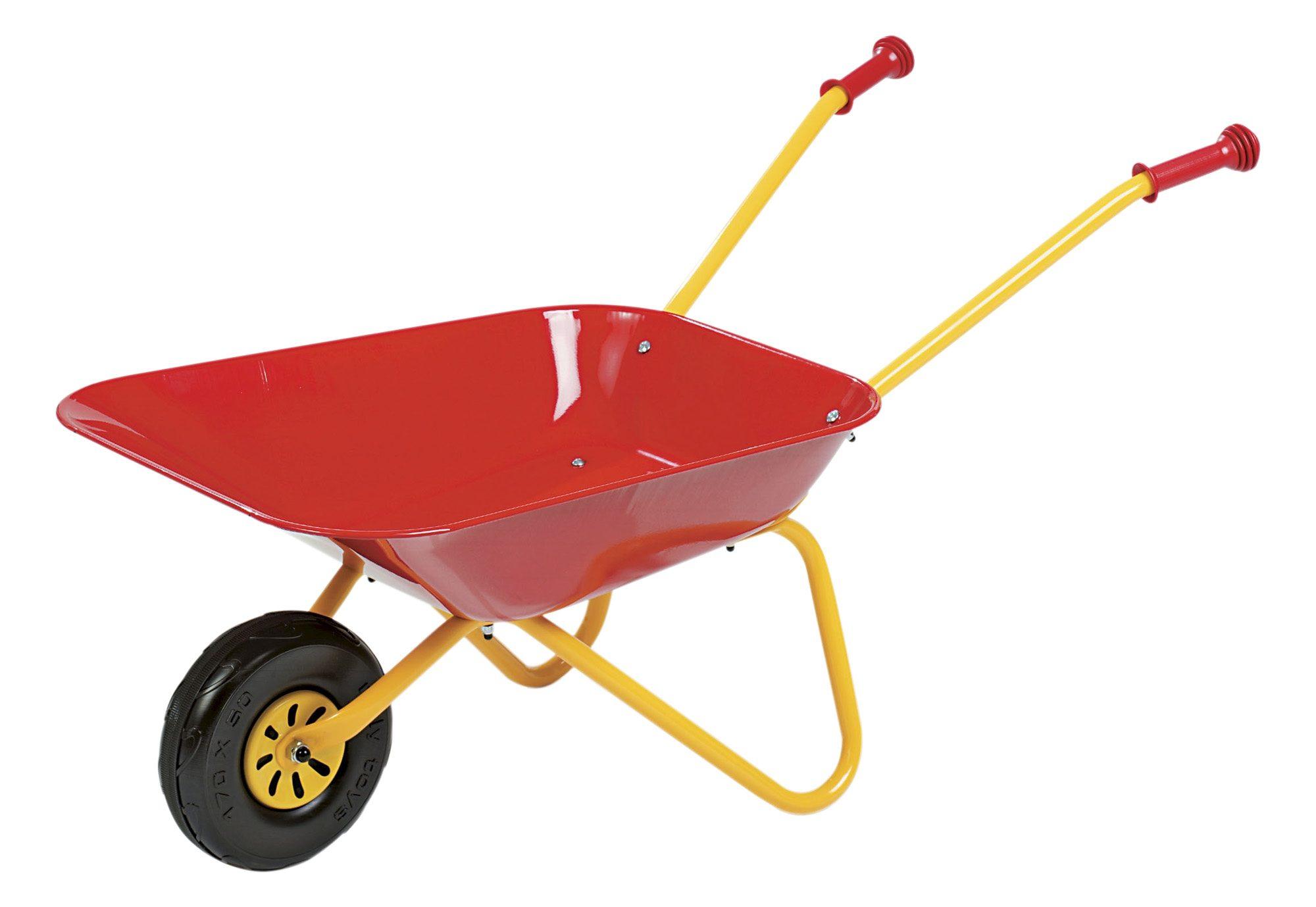 rolly toys® Metallschubkarre + Gratiszugabe: 1 Paar Arbeitshandschuhe farblich sortiert
