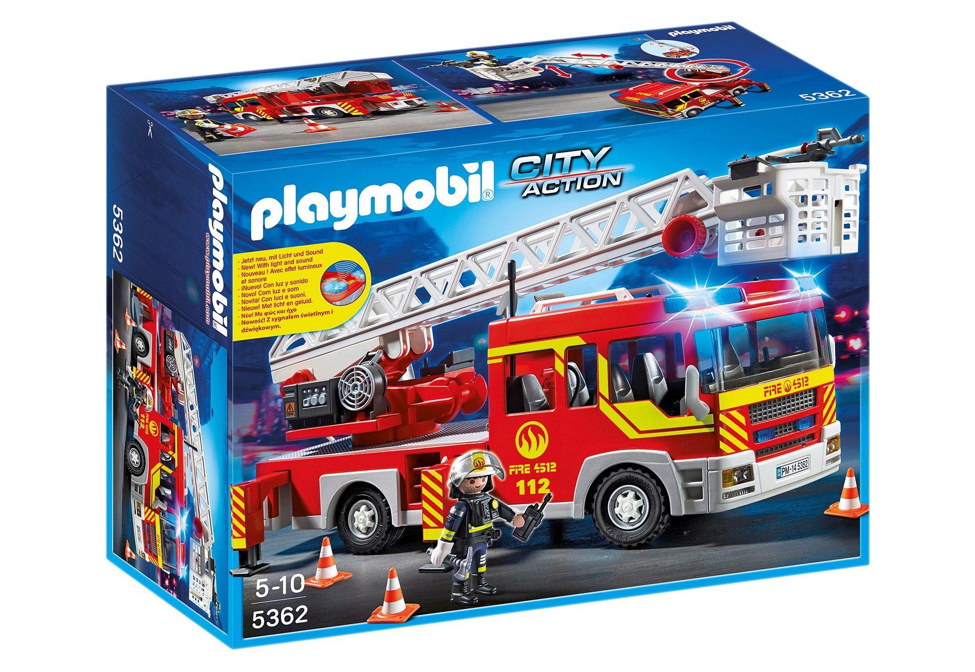 Playmobil® Feuerwehr-Leiterfahrzeug mit Licht und Sound (5362), City Action