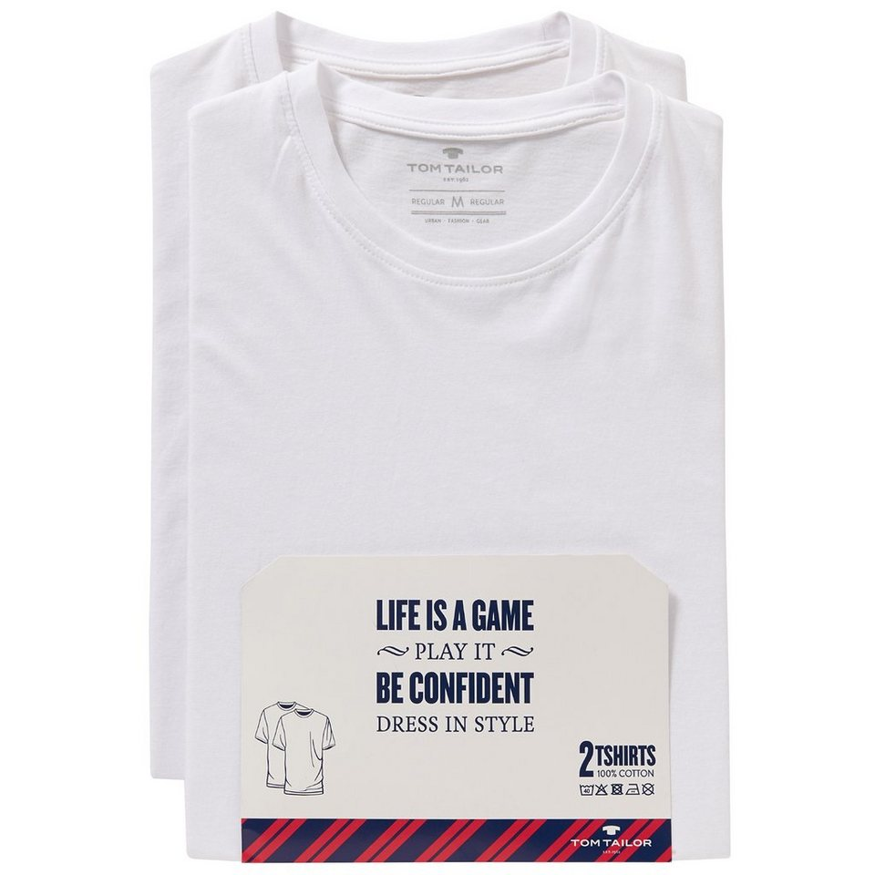 TOM TAILOR T-Shirt »double pack crew-neck« in white