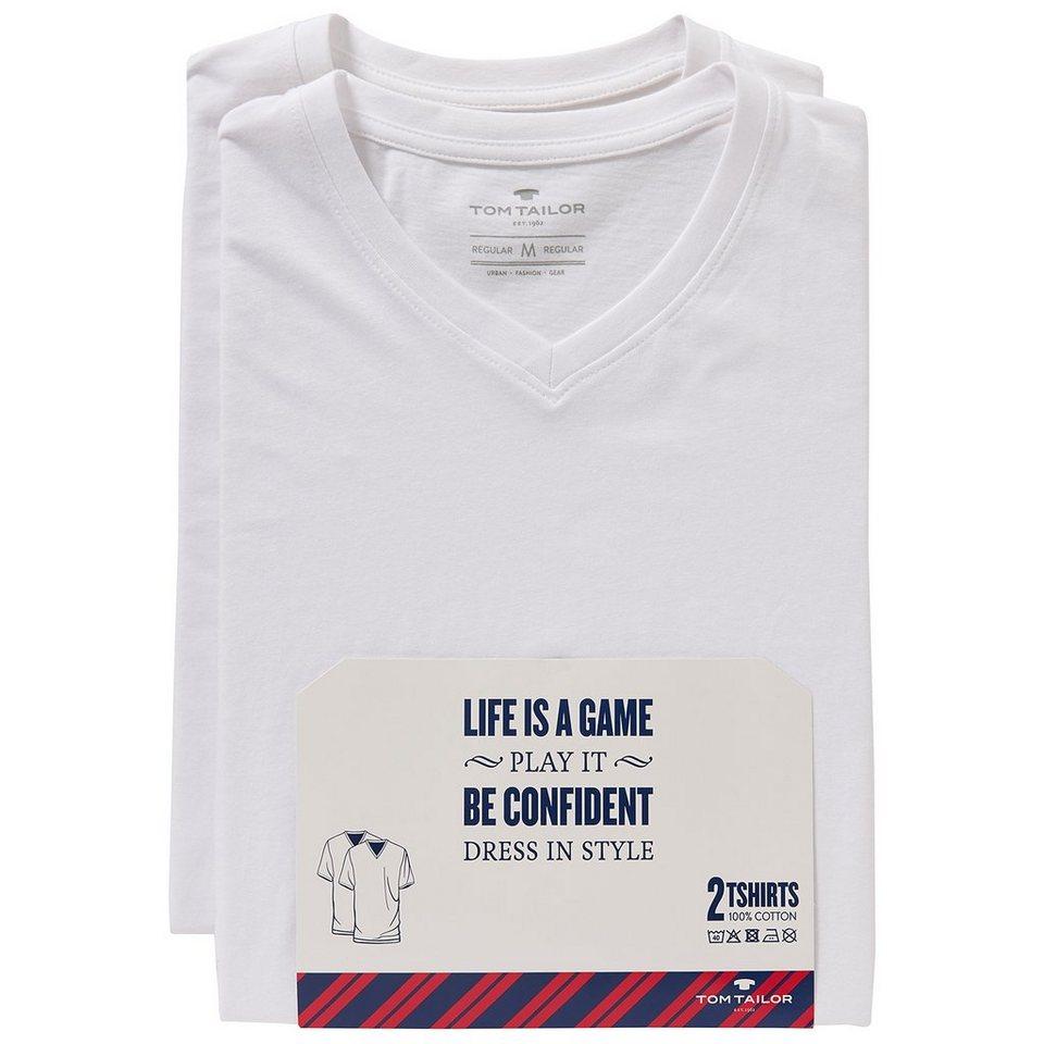 TOM TAILOR T-Shirt »V-Neck T-Shirt im Doppelpack« in white