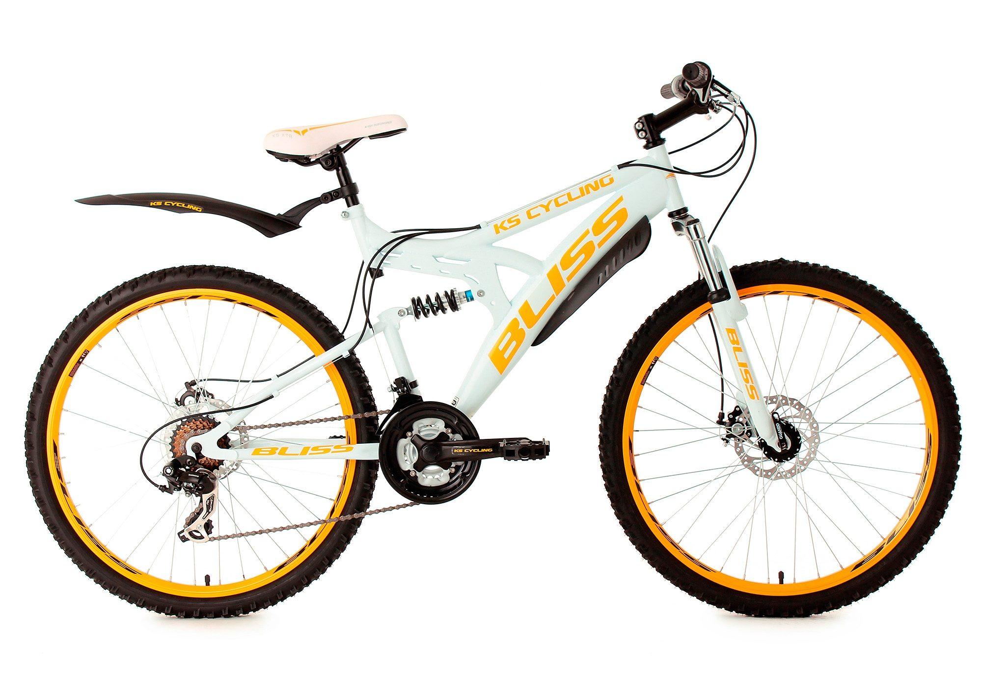 Fully-Mountainbike, 26 Zoll, weiß, 21 Gang Kettenschaltung, »Bliss«, KS Cycling