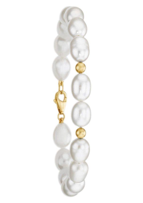firetti Armschmuck: Armband mit glänzenden Kugeln und Perle in goldfarben