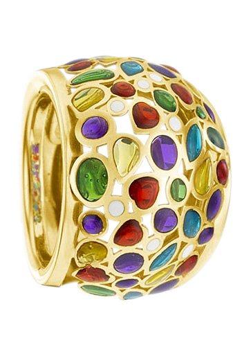 firetti Ring im Verlauf, Kombination aus Gold und Bunt durch farbigen Lack in goldfarben