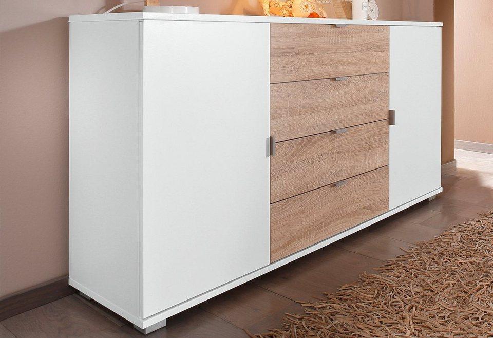 Sideboard, Breite 143 cm in weiß-eichefarben sägerau