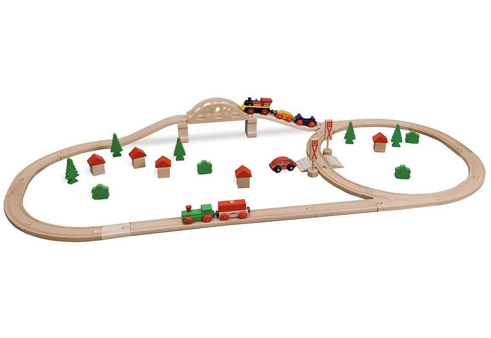 Holz Bahn, »Kleines Bahnset mit Brücke in Box, 55 Teile«, Eichhorn