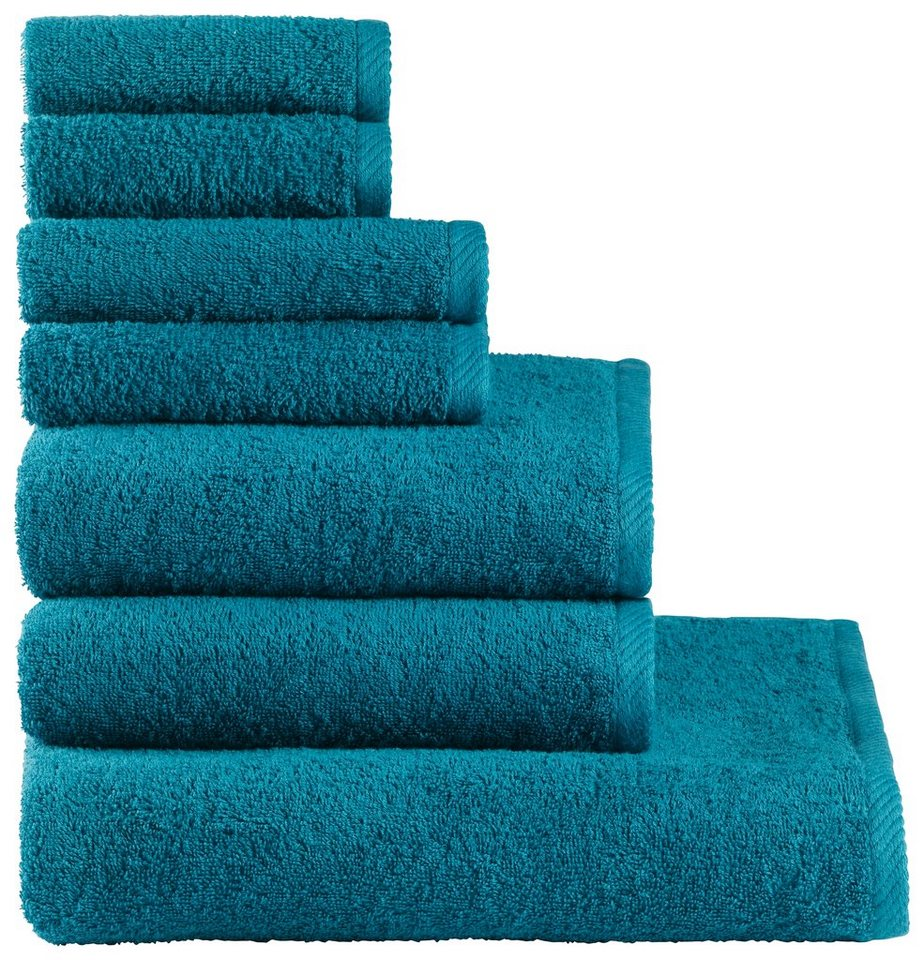 Handtuch Set, my home, »Lisa«, aus reiner Baumwolle in petrol
