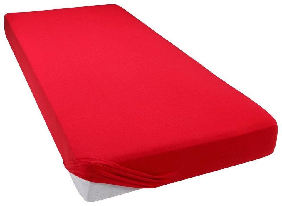Spannbettlaken, my home, »Jersey-Modal«, temperaturausgleichend in rot