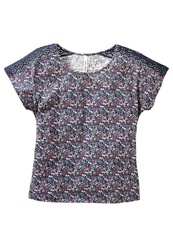 sheego Casual Shirt mit Spitze in geblümt