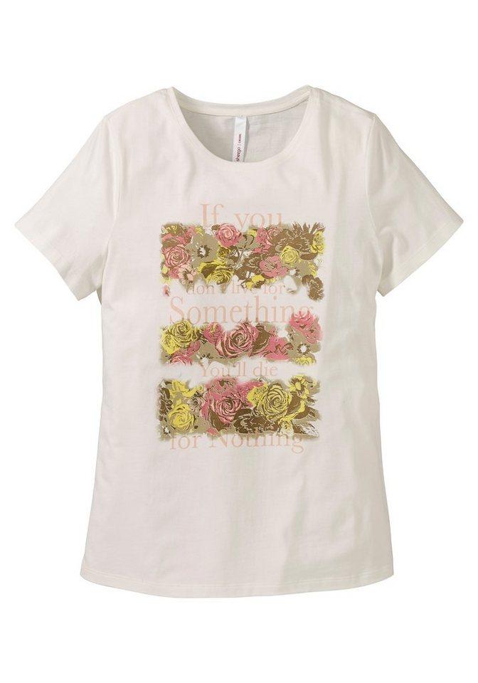 sheego Casual figurumspielendes Shirt aus Baumwolle in offwhite