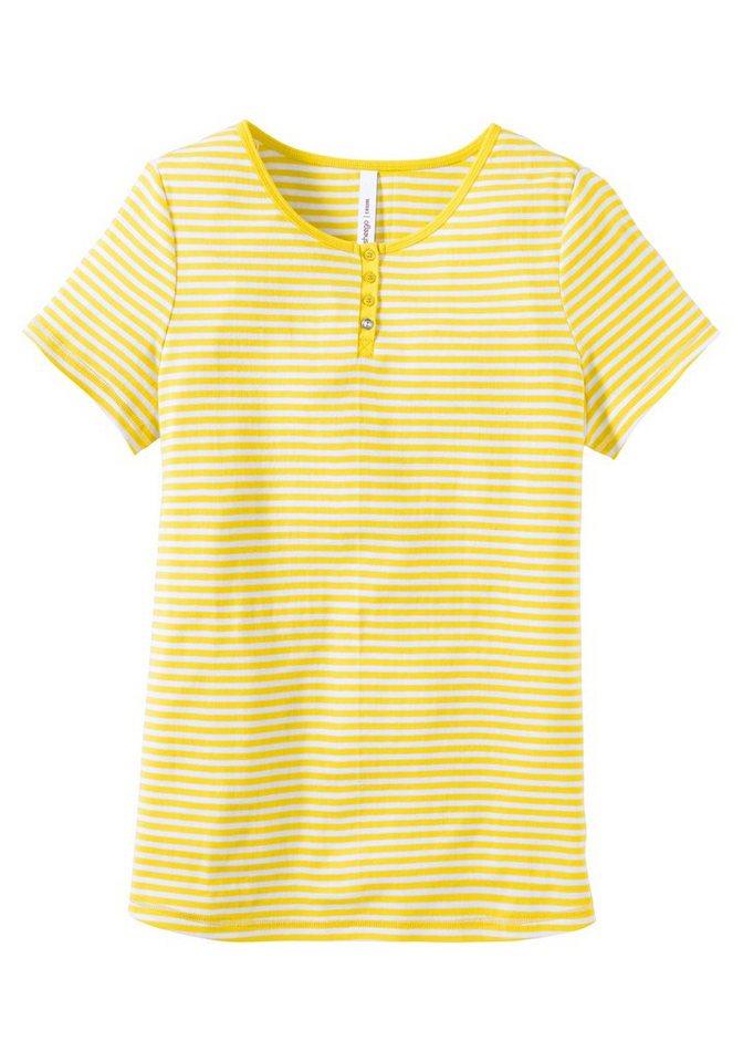 sheego Casual Shirt aus dehnbarer Rippware in gelb-weiß
