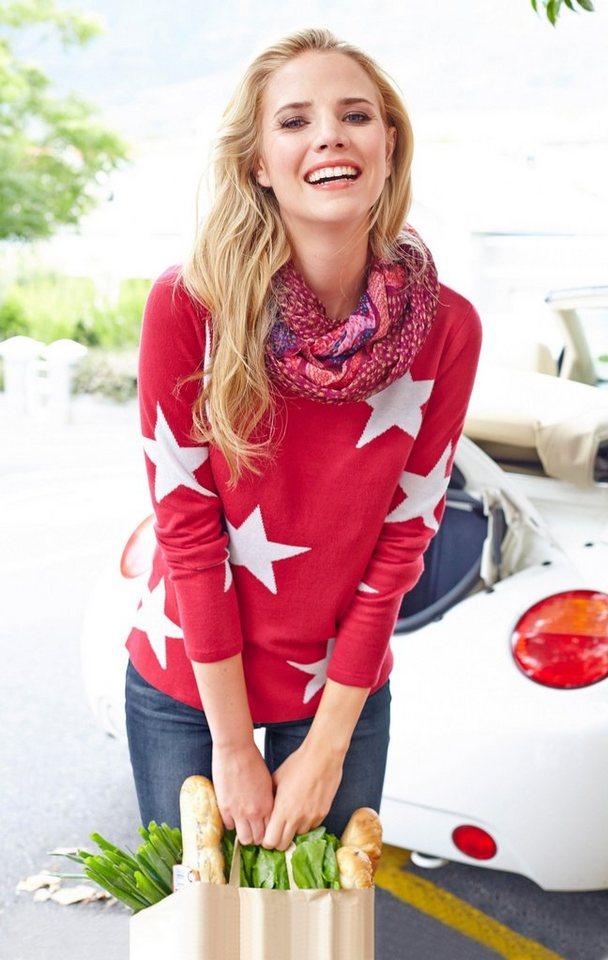 Cheer Rundhalspullover mit Sternenmotiv in rot-wollweiß