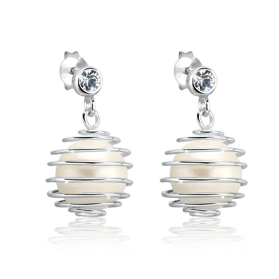 elli ohrringe ohrstecker perle spirale swarovski elements silber online kaufen otto. Black Bedroom Furniture Sets. Home Design Ideas