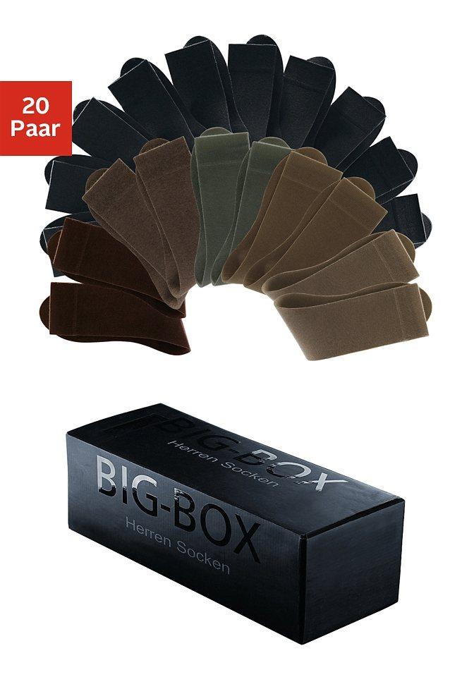 Cotton Republic Basic-Socken (20 Paar) in der Big-Box in schwarz+Brauntöne
