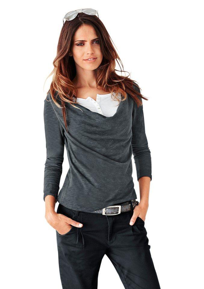 Classic Inspirationen Shirt mit Rundhals-Ausschnitt und Knopfleiste am Wasserfall-Ausschnitt in grau-meliert