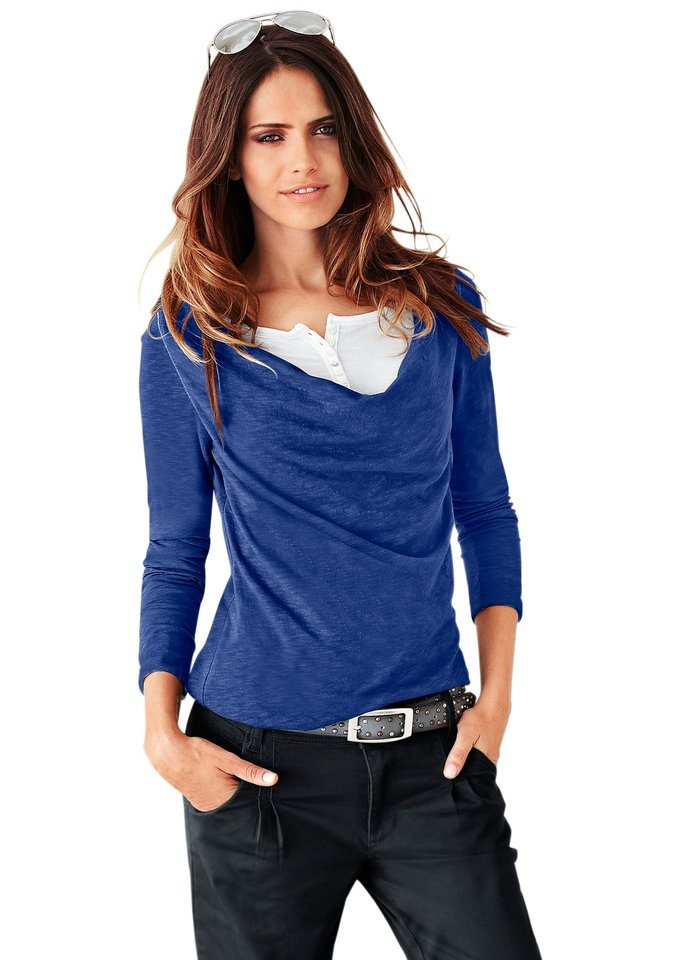 Classic Inspirationen Shirt mit Rundhals-Ausschnitt und Knopfleiste am Wasserfall-Ausschnitt in royalblau