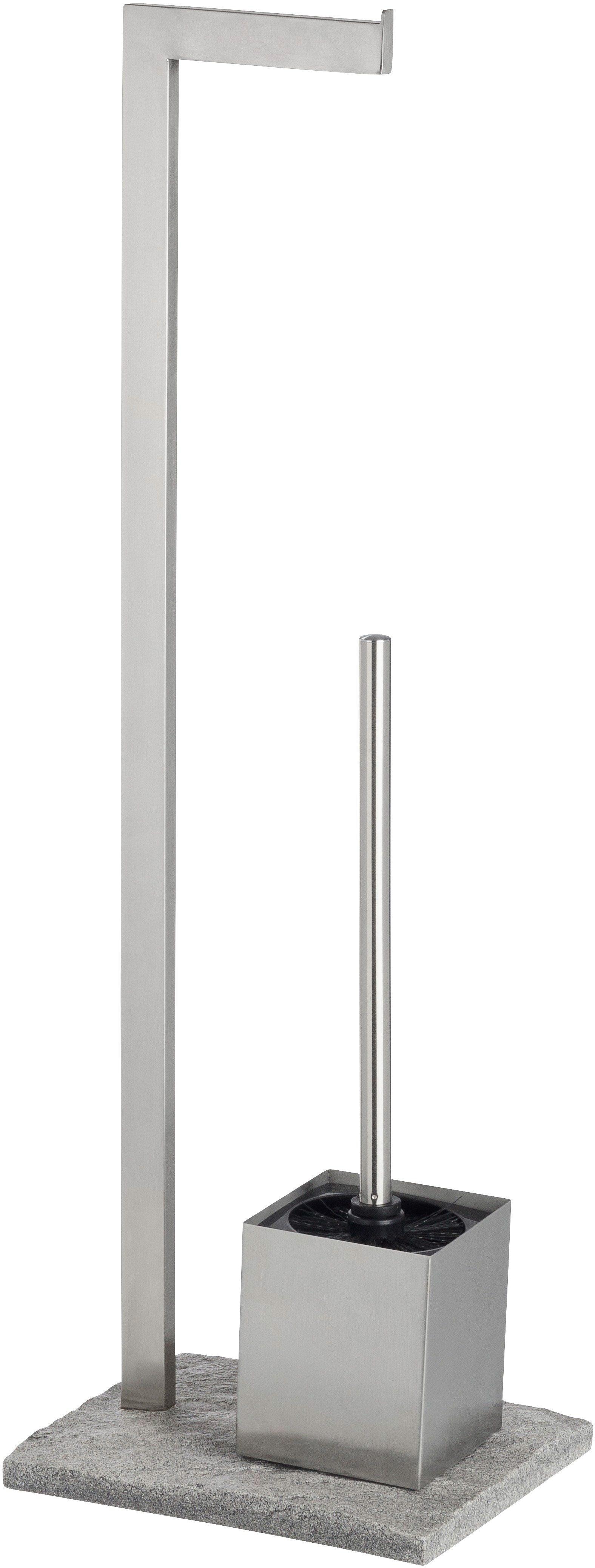 WENKO Stand WC-Garnitur Granit, Edelstahl rostfrei